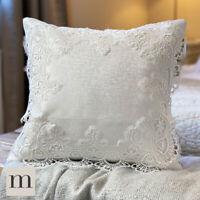 TWO PACK Luxury White Vinatge Antique Lace Crochet Damask Cushion Covers