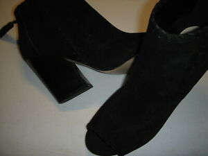 Marc Fisher Genesa Suede Leather Peep Toe Ankle Boots Womens 9 M Black 9M ~