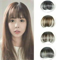 100% Real Human Hair Thin Neat Air Bangs Clip In Fringe Front Hairpiece NEW