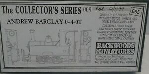 BACKWOODS MINIATURES NARROW GAUGE 009 SCALE ENGINE KIT ANDREW BARCLAY 0-4-0T