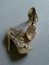 SEXY NEXT GOLD STRAPPY VERY HIGH BLOCK STACK HEEL PARTY SHOES SIZE 6.5 40 NEW