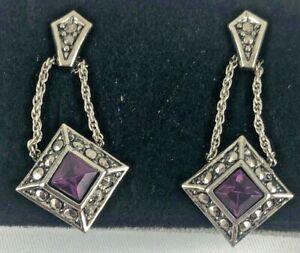 AVON Vintage Sleek Drop Earrings w/Surgical Steel Posts/Faux Amethyst 1992