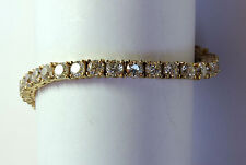 Vintage Sterling Silver  Rhinestone Yellow Gold GT Gilt Tennis Bracelet #FASH31
