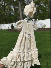 Gorgeous Hand Made Crocheted Christening Gown Rosettes Ruffles Swags Ivory Beige