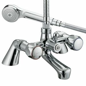 Bristan Value Club Bath Shower Mixer Tap - Chrome Plated with Metal Heads