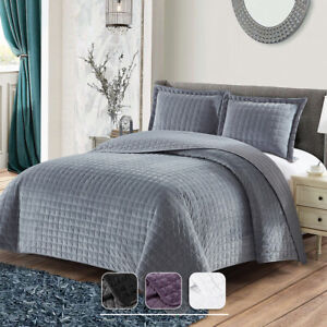 Plush Velvet Quilted Checkered Style Coverlet 2-3 PC Set Bedspread All Seasons