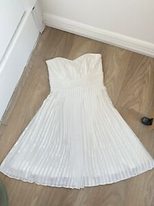 White House Black Market Ivory Pleated Strapless Chiffon Dress 8UK 2US