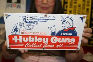 Hubley Texan Jr. Cowboy Toy Store Cap Gun Gas Oil Porcelain Metal Sign