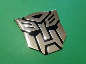 adesivo 3d transformers logo auto moto cromato stemma sticker chrome