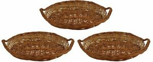 Handicrafts Bamboo Storage Basket (Brown, Pack of 3)