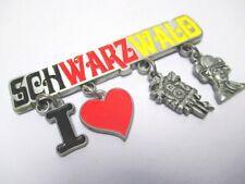 Schwarzwald Metall Charms Magnet 4 Anhänger Souvenir Germany Tracht