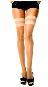 Music Legs Sheer Thigh High Stockings Nylon Opaque Striped Tops 3 Color Reg 4200