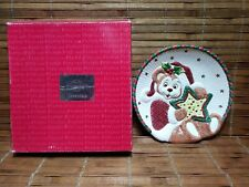 Fitz And Floyd Christmas Twinkling Teddy - Holiday Cookie Plate Wall Hanging Nib