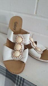 Womens Gabor Binetto Mule Ivory Wedges Sandals  Size 4UK