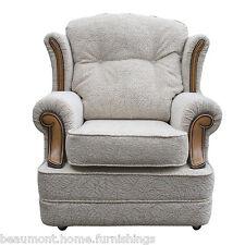 High Wingback Fireside Chair Verona Fabric Seat Easy Armchair Queen Anne Legs