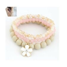 Cute Pink White Pearl Bead Elastic Flower Daisy Crystal Jewellery Bracelet