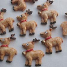 10x Brown Christmas Eve Reindeer Resin Flatback Buttons Craft Scrapbook 23x29mm