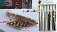 1 set Brass Screwdriver + 0.5-3.0MM Drill for jewelery HSS Twist Bits piercing
