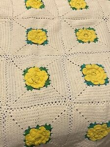 """Crocheted 3D Yellow Flowers White Background  Afghan/Throw/Blanket  55"""" X 55"""""""