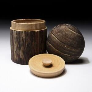 $SA45: Japanese Empress Wood Double-capped Tea Caddy, KIRI wood