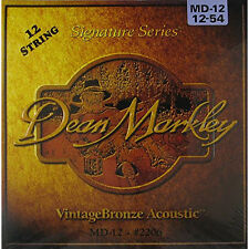 Dean Markley 2206 Vintage Bronze 12-String Acoustic Guitar Strings 12-54 +Picks