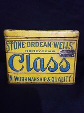 Vintage Stone Ordean Wells Class Cigarette Pipe Tobacco Litho Tin Can