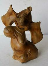 Elephant Figurine Wooden Cartoon-Comic Large Elephant Hand Carved Figure-Cute