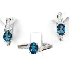 Set Blue topaz Silver 925 . Ring, earrings