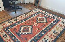 100% Wool Kilim Rust Blue 150x215cm Quality Hand Made Reversible rug