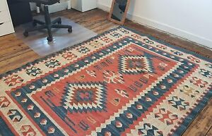 100% Wool Kilim Rust Blue 150x215cm Quality Hand Made Reversible rug