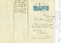 Paris Hôtel de Bristol & Rome - Belle Entête au Nom du Duc de Sciano à Rome 1861