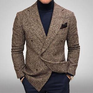 Men's Plaid Business Casual Blazer Double Breasted Jacket Lapel Wearcoat Elegant