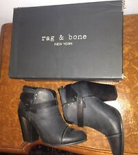 Rag & Bone Harrow Booties Navy Leather Size 40 Marine Boot Heels Blue Black