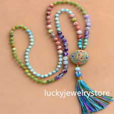 108 Beads Mala Natural Stone Long Tassel Necklace Women  Z077