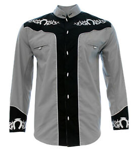 Men's Charro Shirt Camisa Charra El General Western Wear Color Gray Long Sleeve