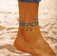 Chain Anklet Barefoot Sandals Foot Jewelry Hot Boho Beach Crystal Shell Evil Eye