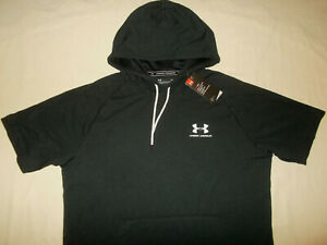 NWT UNDER ARMOUR HEAT GEAR BLACK SHORT SLEEVE LIGHTWEIGHT HOODIE MENS LARGE