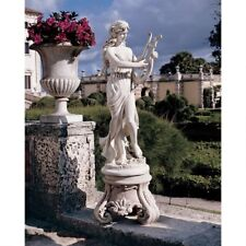 """47"""" Classic Roman Statue Maiden W/ Harp Sculpted Beauty by Carlo Bronti"""