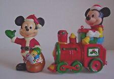 New listing Two Vintage Plastic Mickey Mouse Train & Santa Christmas Ornaments