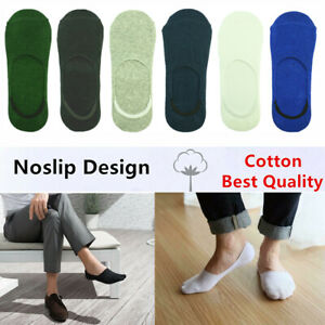 GK Mens Summer Invisible Nonslip Loafer No Show Plain Solid Cotton Boat Socks