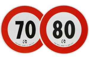 Coppia Adesivi Limite Di Velocità 70 Km/h + 80 Km/h