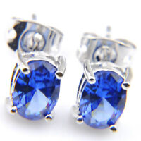 Elegant Gift Rectangle London Blue Topaz Gemstone Silver Stud Hook Earrings