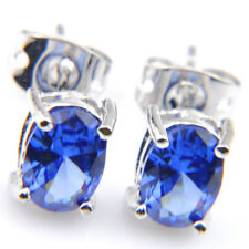 Gemstone Silver Stud Hook Earrings Elegant Gift Rectangle London Blue Topaz
