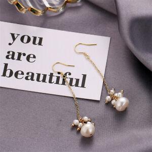 Natural Baroque Pearl Long Earrings Silver Ear Hook AAA Gift Aurora Flawless