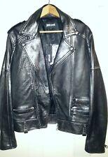 Just Cavalli Leather Black Metallic Moto Jacket Men USA Size Large - Italy 50