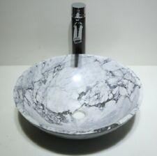 LUXURY BATHROOM CARRARA KALA WHITE BLACK GREY MARBLE ROUND BASIN SINK WASH BOWL