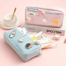 Large Capacity Pencil Case with 3 Cute Badge Gift Stationery Makeup Pouch Bag