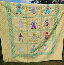 """Vintage Hand Appliqued & Hand Quilted Yellow Sun Bonnet Sue Quilt  72"""" x 92"""""""