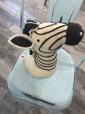 New ~ Wool Zebra Head Wall Hanging Faux Taxidermy Plush Jungle Nursery & Home