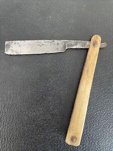 Antique Moustache Straight Razor  Heavy Blade Broomstick BONE Scales & Stub Tail